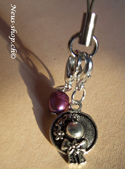 Handy Charm with purple freshwater pearls enlarge closer look from Neus Shop