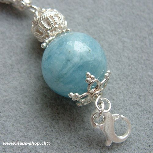 Handmade pearl silver, pearls, and canopy closure Everything silver 925 with Aquamarine